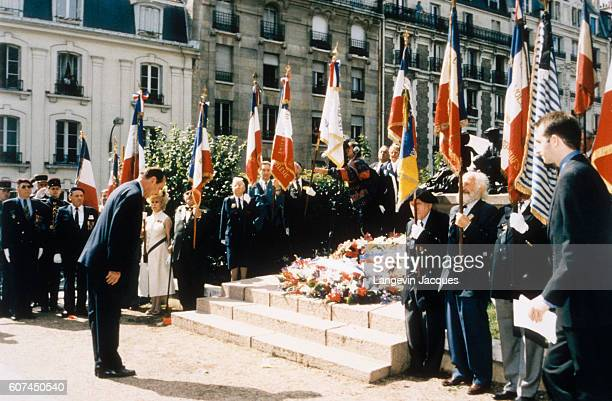 French President Jacques Chirac bows following his speech at a ceremony commemorating the raid of Vel d'Hiv in Paris The raid of Vel d'Hiv took place...