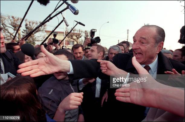French president Jacques Chirac campaign in Savigny Sur Orge France on March 27 2002