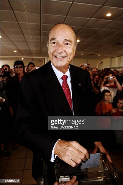 French President Jacques Chirac And First Lady Bernadette Cast Their Ballot At A Polling Station In Sarran For The Second Round Of The Presidential...