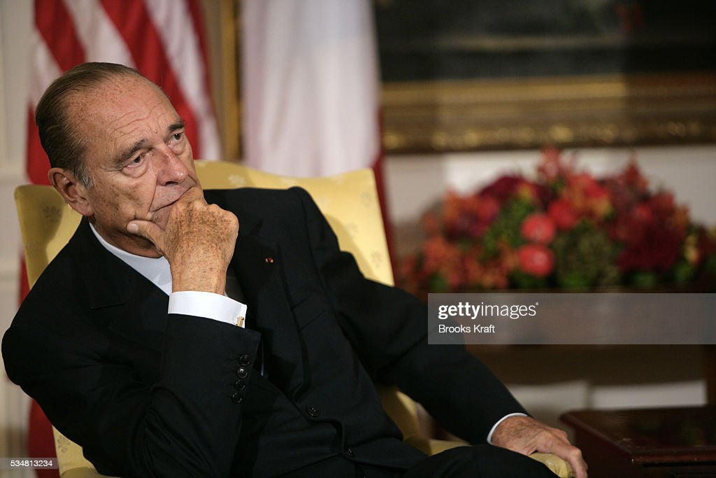 French President Jacques Chirac during bilateral meeting with US President George W Bush before the United Nations General Assembly in New York...