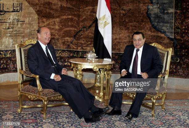 French President Jacques Chirac During His State Visit To The Egyptian Arabic Republic On April 19Th 2006 In Cairo Egypt Here Meeting Between French...