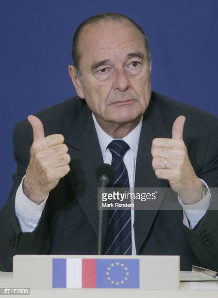 French President Jacques Chirac gives a press conference at the Justus Lipsitus Building during a EU summit on March 24 2006 in the Belgian capital...
