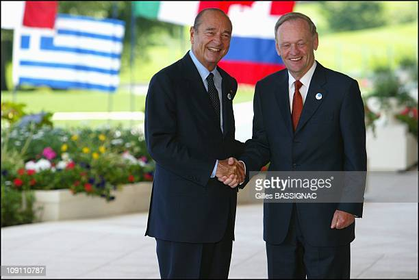 French President Jacques Chirac Greets Heads Of States Participating In G8 Summit In Evian On June 1 2003 In Evian France Prime Minister Of Canada...