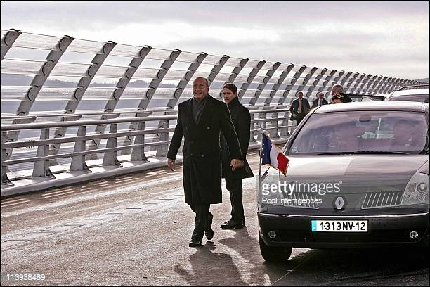French President Jacques Chirac inaugurates the cablestayed bridge officially designated the tallest in the world In Millau France On December 14...