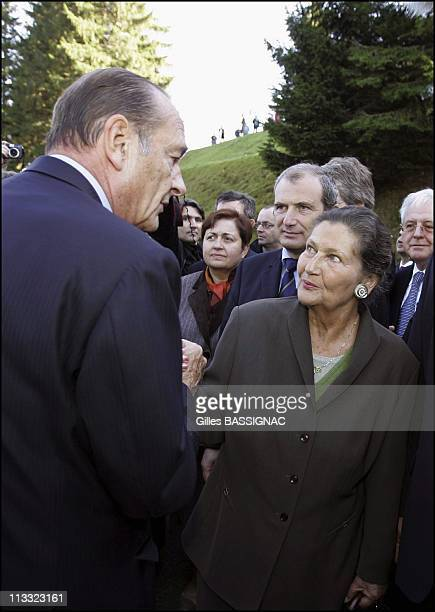 French President Jacques Chirac Inaugurates The European Centre For The Resistant Deportee On The Site Of The Former Concentration Camp Of...