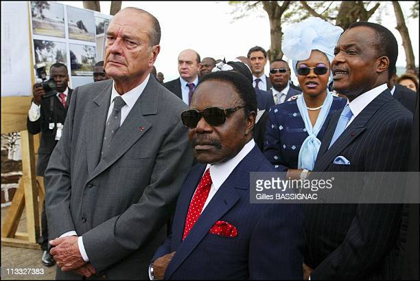 French President Jacques Chirac On Visit To The Republic Of Congo On February 5Th 2005 In Brazzaville Congo Opening Of The Conference On The...