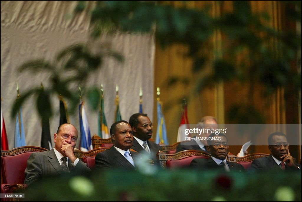 French President <a gi-track='captionPersonalityLinkClicked' href=/galleries/search?phrase=Jacques+Chirac&family=editorial&specificpeople=165237 ng-click='$event.stopPropagation()'>Jacques Chirac</a> On Visit To The Republic Of Congo On February 5Th, 2005 In Brazzaville, Congo - Opening Of The Conference About Conservation Of The Forests Ecosystems In Central Africa - <a gi-track='captionPersonalityLinkClicked' href=/galleries/search?phrase=Jacques+Chirac&family=editorial&specificpeople=165237 ng-click='$event.stopPropagation()'>Jacques Chirac</a>, Congolese President Denis Sassou N'Guesso, President Of The Equatorial Guinea Obiang N'Guema, President Of Chad <a gi-track='captionPersonalityLinkClicked' href=/galleries/search?phrase=Idriss+Deby&family=editorial&specificpeople=4605749 ng-click='$event.stopPropagation()'>Idriss Deby</a>.