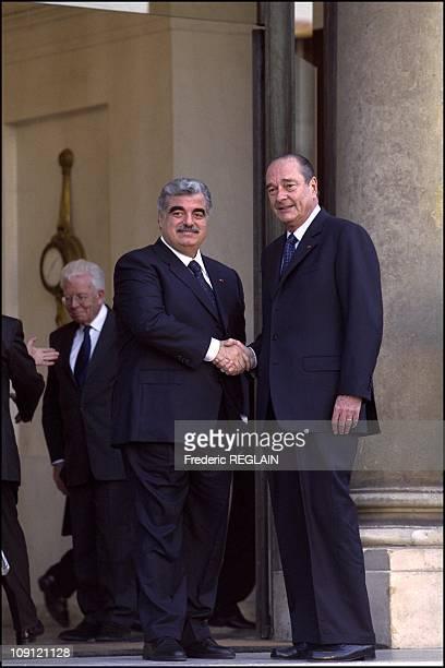 French President Jacques Chirac Receives Lebanese Prime Minister Rafik Hariri On February 14Th 2001 In Paris France