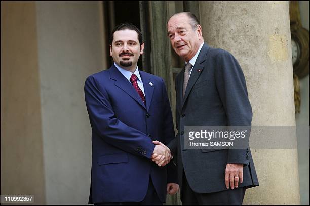 French president Jacques Chirac receives Saad Hariri the Lebanese Parliament majority leader and son of the assassinated former Prime Minister Rafic...