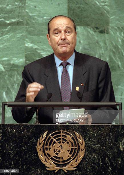 French President Jacques Chirac speaks 23 October 1995 before a special session of the Unied Nations General Assembly in New York Some 140 heads of...