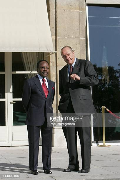 French President Jacques Chirac welcomes his Gabonese counterpart Omar Bongo for talks at the Elysee Palace In Paris France On October 28 2004