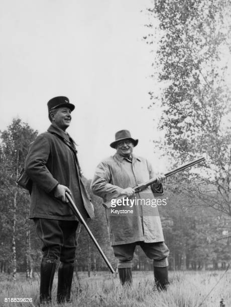 French President Joseph Laniel during a shooting party in the Rambouillet woods France 25th October 1953