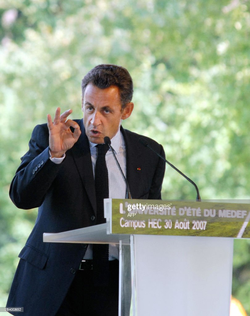 French President Nicolas Sarkozy addresses the summer congress of the MEDEF employers' federation 30 August 2007 taking place at the campus of the...
