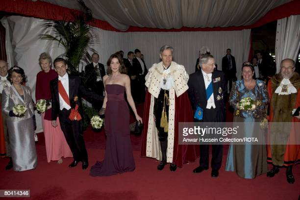 French President Nicolas Sarkozy and Carla BruniSarkozy attend a Banquet at the Guildhall with the Lord Mayor of the City of London and the Duke of...
