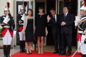 French President Nicolas Sarkozy and his pregnant wife Carla BruniSarkozy greet President of the European Commission Jose Manuel Barroso and his wife...