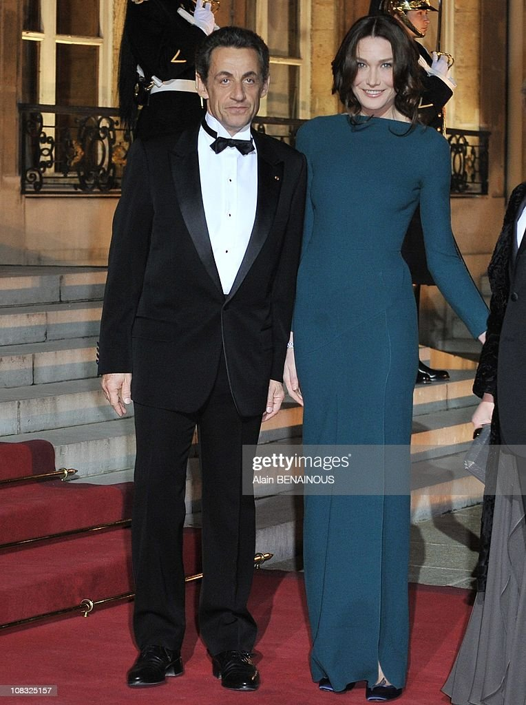 French President Nicolas Sarkozy and his wife Carla BruniSarkozy at the Elysee Palace in Paris France on March 02nd 2010