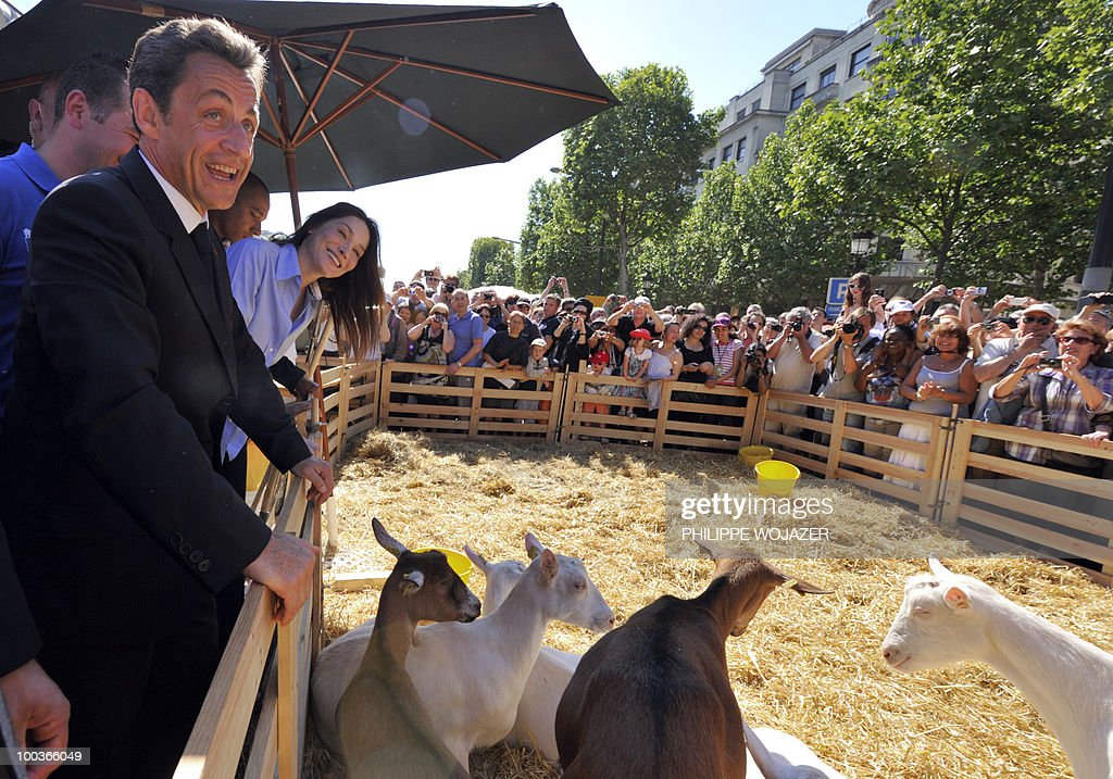 French President Nicolas Sarkozy (L) and his wife Carla Bruni-Sarkozy (2ndL) look at goats as they visit exhibitions on the Champs-Elysees in Paris, on May 24, 2010. The young French farmers' union organized a two-day event called 'Nature Capitale' where they installed the fields and forest of France in the French capital. The union, representing farmers under the age of 35, aim to showcase farm production from sheep breeding to crop growing and win public support for their embattled sector.