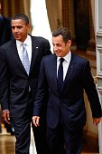French president Nicolas Sarkozy and Presumptive US Democratic presidential candidate Sen Barack Obama depart Elysee Palace on July 25 2008 in Paris...