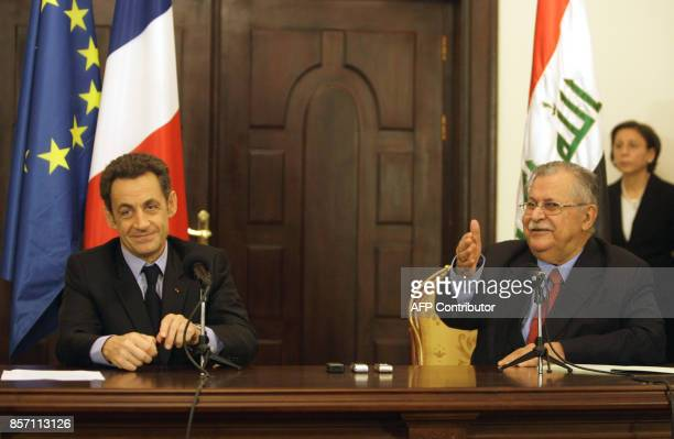 French President Nicolas Sarkozy appears in a joint press conference with Iraqi President Jalal Talabani in Baghdad on February 10 2009 French...
