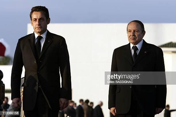 French President Nicolas Sarkozy Arrives At The Algiers Airport Houari Boumedienne Welcomed By President Abdelaziz Bouteflika In Algiers Algeria On...