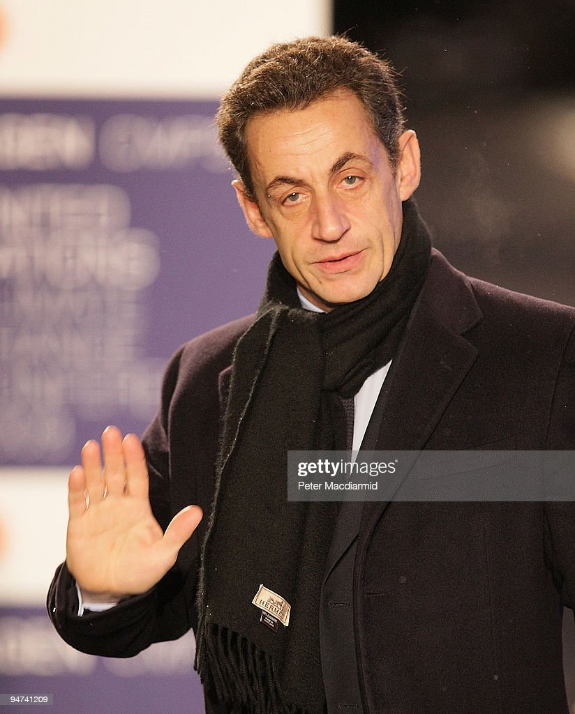 French President Nicolas Sarkozy arrives for the final day of the UN Climate Change Conference on December 18, 2009 in Copenhagen, Denmark. World leaders will try to reach agreement on targets for reducing the earth's carbon emissions on this last day of the summit.