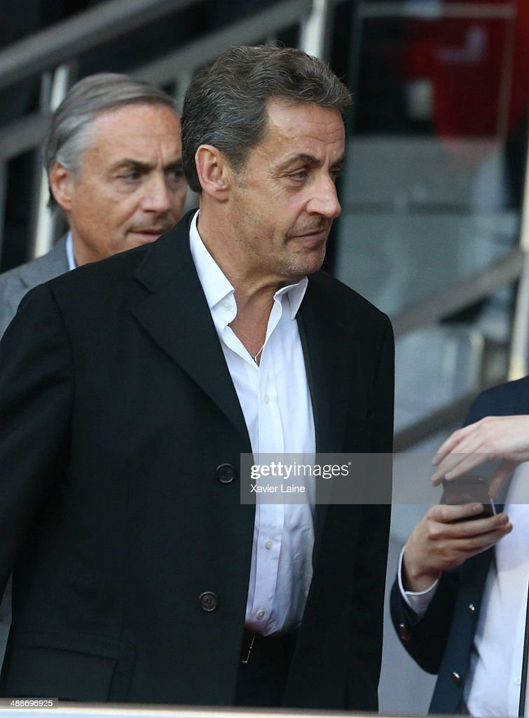 French president <a gi-track='captionPersonalityLinkClicked' href=/galleries/search?phrase=Nicolas+Sarkozy&family=editorial&specificpeople=211375 ng-click='$event.stopPropagation()'>Nicolas Sarkozy</a> attends the French Ligue 1 between Paris Saint-Germain FC and Stade Rennais FC at Parc Des Princes on May 07, 2014 in Paris, France.