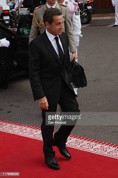 French President Nicolas Sarkozy attends the religious ceremony of the Royal Wedding of Prince Albert II of Monaco to Princess Charlene of Monaco in...