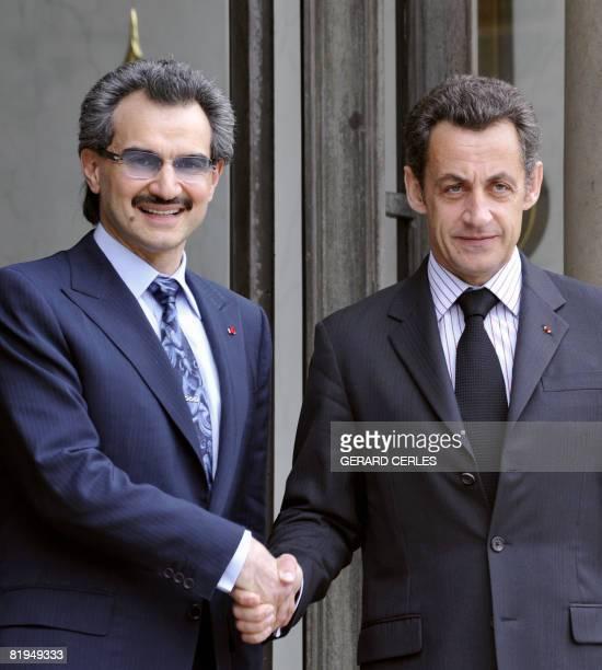 French President Nicolas Sarkozy bids farewell to Saudi Arabian Prince Alwaleed bin Talal after a bilateral meeting on July 16 2008 at the Elysee...
