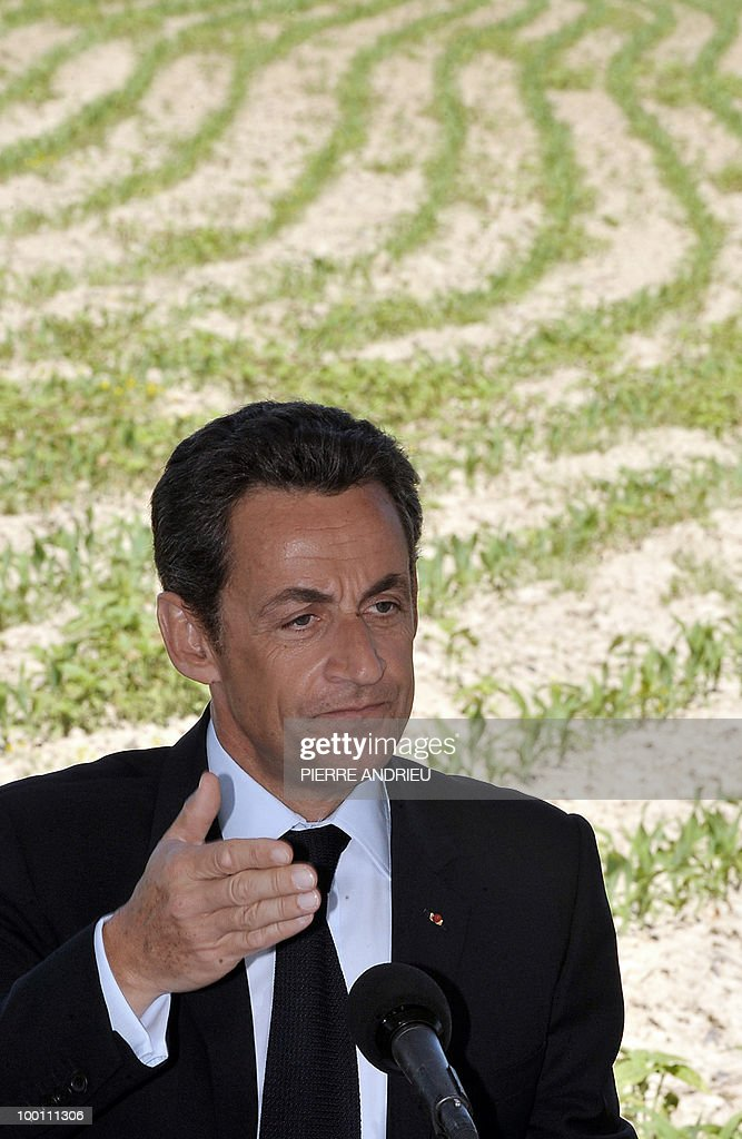 French President Nicolas Sarkozy delivers a speech after visiting a local farm, on May 21, 2010 in Bouglon, southwestern France, during his visit in the region.