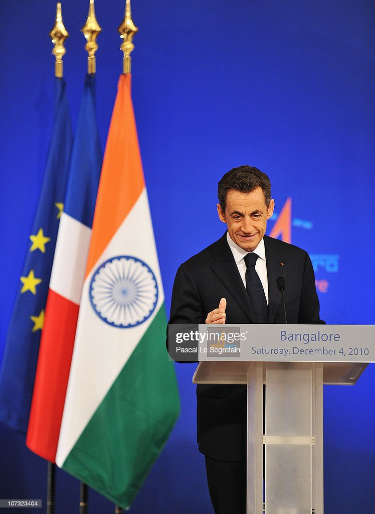 French President Nicolas Sarkozy delivers a speech during the ISRO Satellite Center visit on December 4 2010 in Bangalore India French President...