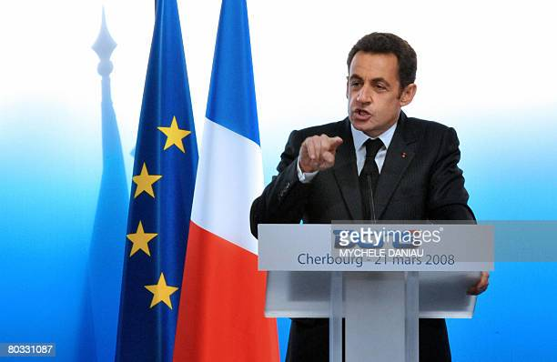French President Nicolas Sarkozy delivers a speech prior to the launching of the new nuclear submarine The Terrible on March 21 2008 in Cherbourg...