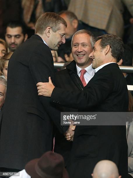 French president Nicolas Sarkozy Dmitri Rybolovlev and Vadim Vasilyev attend the French Ligue 1 between Paris SaintGermain FC and AS Monaco FC at...