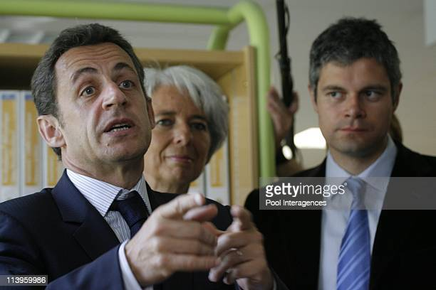 French President Nicolas Sarkozy during a visit at the ASS in Melun France on May 16 2008Secretary of State for Employment Laurent Wauquiez French...