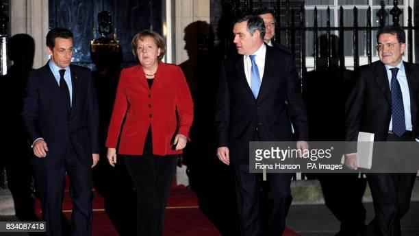 French president Nicolas Sarkozy German chancellor Angela Merkel British Prime Minister Gordon Brown EU Commission President Jose Manuel Barroso and...