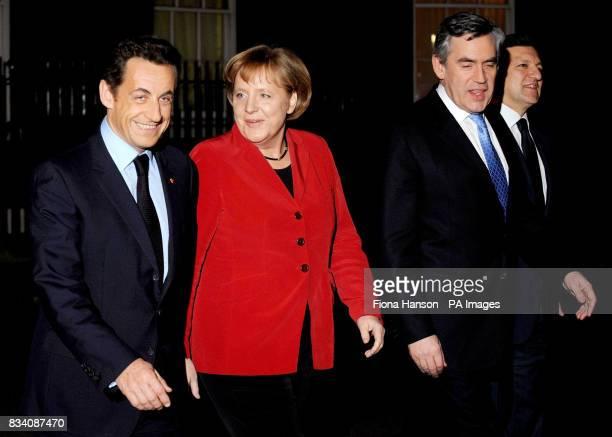French president Nicolas Sarkozy German chancellor Angela Merkel British Prime Minister Gordon Brown and EU Commission President Jose Manuel Barroso...