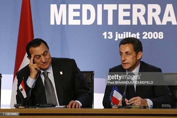 French President Nicolas Sarkozy Gives A Press Conference At The End Of The Paris Union For The Mediterranean Founding Summit In Paris France On July...