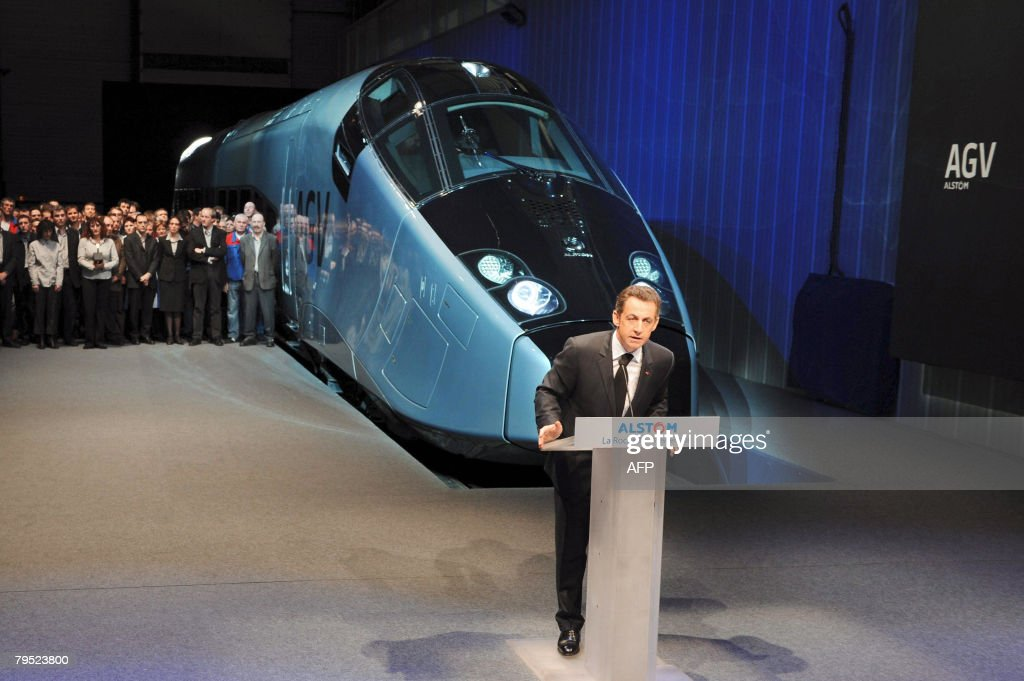 French president Nicolas Sarkozy gives a speech in front of Alstom's new highspeed AGV train during its first presentation in La Rochelle western...