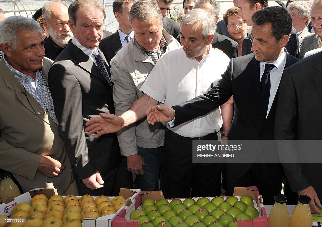 French President Nicolas Sarkozy (R) looks at the apple production of local farmer Philippe Blouin (2ndR), on May 21, 2010 in Bouglon, southwestern France, during his visit in the region.