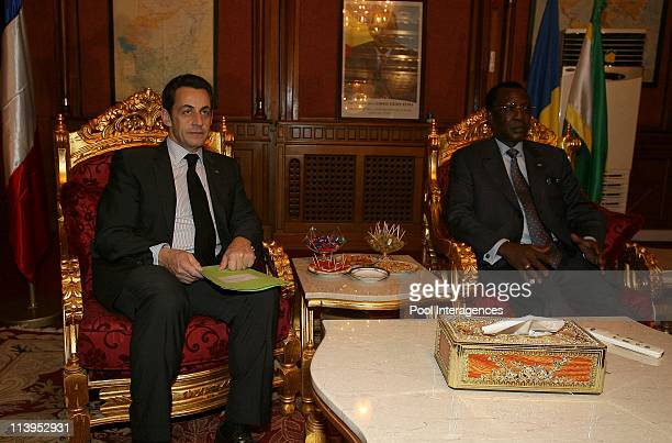 French President Nicolas Sarkozy meets Chad President Idriss Deby Itno at the Presidential palace in N'Djamena Chad on February 27 2008Nicolas...