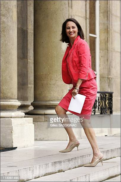 French President Nicolas Sarkozy Meets Former Socialist Candidate For The Presidential Election Segolene Royal At The Elysee Palace In Paris France...