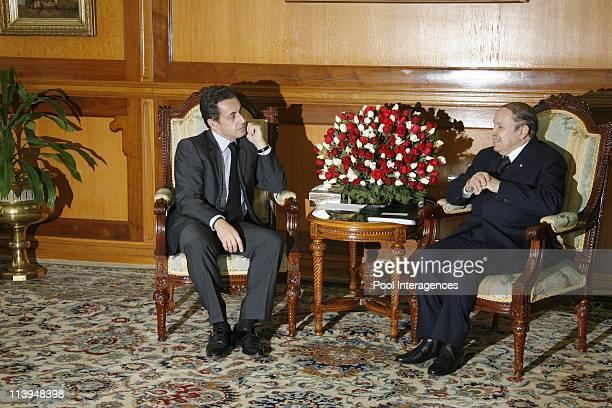 French President Nicolas Sarkozy meets President Abdelaziz Bouteflika at the El Mouradia Palace In Algiers Algeria On December 04 2007French...