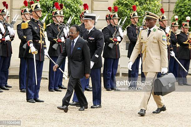 French President Nicolas Sarkozy received Gabonese President Omar Bongo Ondimba at the Elysee Palace in Paris France on July 2nd 2008 Gabonese...