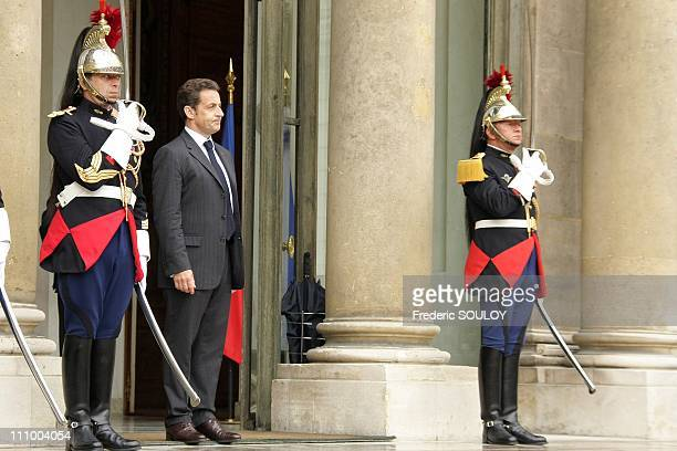 French President Nicolas Sarkozy received Gabonese President Omar Bongo Ondimba at the Elysee Palace in Paris France on July 2nd 2008 French...