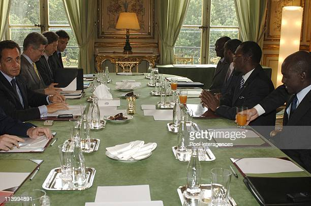 French president Nicolas Sarkozy receives M Idriss Deby Itno president of Chad at the Elysee In Paris France On July 19 2007Photo by Giancarlo...