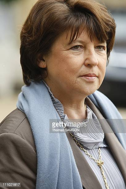 French President Nicolas Sarkozy receives the French Socialist Party leader Martine Aubry at the Elysee Palace in Paris France on June 10th 2009...