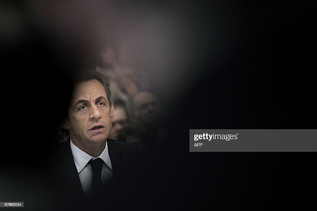 French President Nicolas Sarkozy speaks during a meeting on March 9, 2010 in Pontarlier, eastern France, as part of a visit dedicated to employment and professional training.