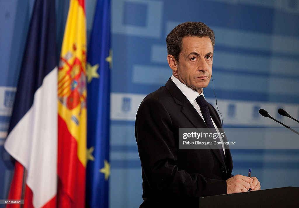French President <a gi-track='captionPersonalityLinkClicked' href=/galleries/search?phrase=Nicolas+Sarkozy&family=editorial&specificpeople=211375 ng-click='$event.stopPropagation()'>Nicolas Sarkozy</a> talks at a press conference in the Moncloa Palace, on January 16, 2012 in Madrid, Spain. Sarkozy is, in Madrid, to receive the Golden Fleece Award 'Toison de Oro' form King Juan Carlos of Spain for his support on the fight against Basque armed group ETA. The French President is the first foreign leader to meet Mariano Rajoy in Madrid since he won the elections last December.