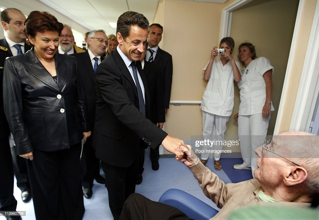 French President Nicolas Sarkozy visits the Hospital Maritime of Zuydcoote near Dunkirk in Dunkirk France On May 22 2007France's President Nicolas...