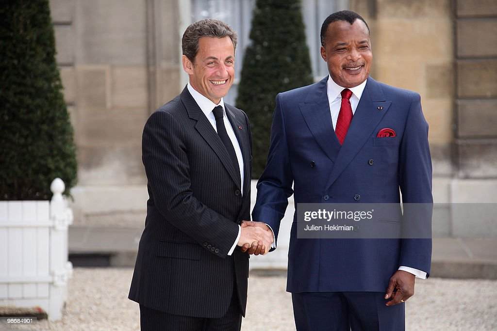 French President <a gi-track='captionPersonalityLinkClicked' href=/galleries/search?phrase=Nicolas+Sarkozy&family=editorial&specificpeople=211375 ng-click='$event.stopPropagation()'>Nicolas Sarkozy</a> (L) welcomes Congolese President Denis Sassou N'Guesso at the Elysee Palace in Paris on April 26, 2010. Among other subjects, Sarkozy and N'Guesso will talk about the preparation of the festivities for the 50th anniversary of the independance of Congo.