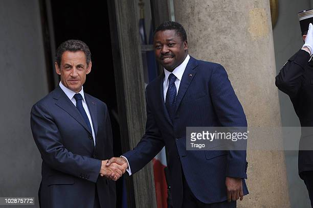 French President Nicolas Sarkozy welcomes the President of Togo Faure Gnassingbe at the Elysee Palace on July 13 2010 in Paris France Fifty years...